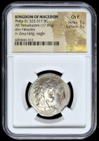 323-317 BC Kingdom of Macedon Philip III AR (Silver) Tetradrachm (17.01g) obv Heracles rv Zeus Hldg. Eagle (NGC Ch F) Strike: 5/5, Surface: 3/5 at PristineAuction.com