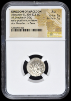 336-323 BC Kingdom of Macedon Alexander III AR (Silver) Drachm (4.30g) Early Posthumous Issue obv Heracles rv Zeus (NGC AU) Strike: 5/5, Surface: 5/5