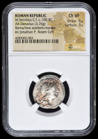 c.100 BC Roman Republic M. Servilius C.f. AR (Silver) Denarius (3.76g) Roma / Two Soldiers + Horses  (NGC Ch VF) Strike: 5/5, Surface: 3/5
