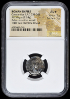337-361 AD Roman Empire Constantius II AR (Silver) Siliqua (2.24g) Arles rv Votive Wreath (NGC AU*) Strike: 5/5, Surface: 5/5 at PristineAuction.com