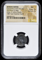 337-361 AD Roman Empire Constantius II AR (Silver) Siliqua (2.46g) Arles rv Votive Wreath  (NGC AU) Strike: 5/5, Surface: 3/5 at PristineAuction.com