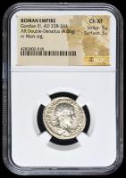 238-244 AD Roman Empire Gordian III AR (Silver) Double-Denarius (4.86g) rv Mars Standing (NGC Ch XF) Strike: 5/5, Surface: 3/5 at PristineAuction.com