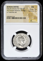 244-49 AD Roman Empire Otacilia Severa AR (Silver) Double-Denarius (5.45g) rv Pudicitia Standing (NGC MS) Strike: 5/5, Surface: 3/5 at PristineAuction.com