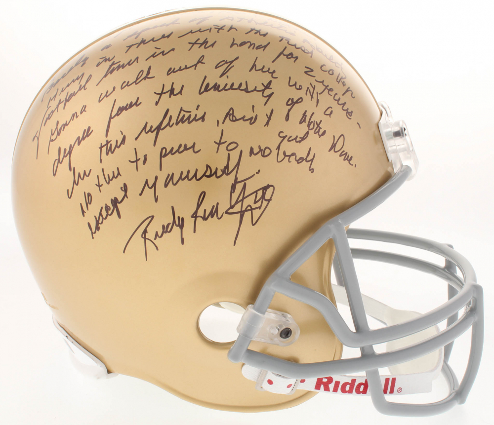 eae4b303805 Rudy Ruettiger Signed Notre Dame Fighting Irish Full Size Helmet with  Extensive
