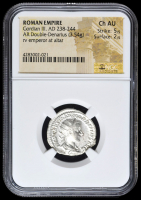 238-244 AD Roman Empire Gordian III AR (Silver) Double-Denarius (3.54g) rv Emperor at Alter (NGC Ch AU) Strike: 5/5, Surface: 2/5 at PristineAuction.com