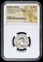 238-244 AD Roman Empire Gordian III AR (Silver) Double-Denarius (5.48g) rv Mars Standing (NGC Ch XF) Strike: 5/5, Surface: 4/5 at PristineAuction.com