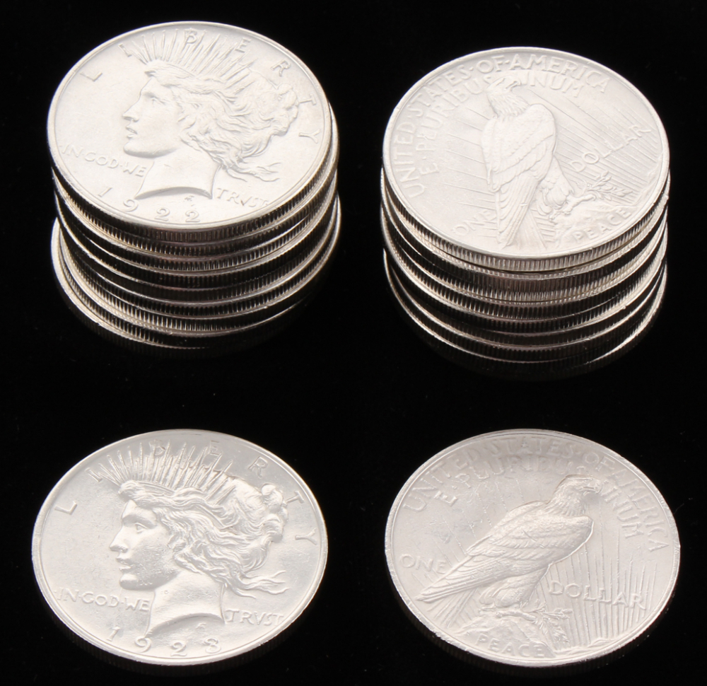 Lot of (20) 1922-1923 Uncirculated Peace Silver Dollars at PristineAuction.com