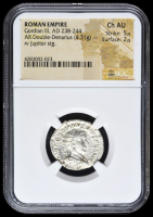 238-244 AD Roman Empire Gordian III AR (Silver) Double-Denarius (4.31g) rv Jupiter Standing (NGC Ch AU) Strike: 5/5, Surface: 2/5