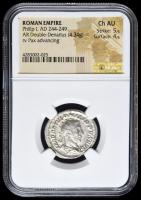 244-249 AD Roman Empire Philip I AR (Silver) Double-Denarius (4.34g) rv Pax Advancing (NGC Ch AU) Strike: 5/5, Surface: 4/5
