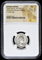 249-251 AD Roman Empire Trajan Decius AR (Silver) Double-Denarius (4.05g) rv Dacia Standing (NGC MS) Strike: 4/5, Surface: 4/5