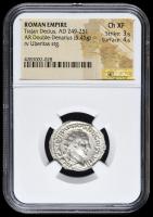 249-251 AD Roman Empire Trajan Decius AR (Silver) Double-Denarius (5.45g) rv Uberitas Standing (NGC XF) Strike: 3/5, Surface: 4/5 at PristineAuction.com