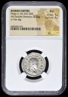 247-249 AD Roman Empire Philip II AR (Silver) Double-Denarius (3.35g) rv Pax Standing (NGC AU) Strike: 5/5, Surface: 4/5
