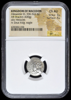 336-323 BC Kingdom of Macedon Alexander III AR (Silver) Drachm (4.30g) obv Heracles rv Zeus Holding Eagle (NGC Ch AU) Strike: 3/5, Surface: 4/5