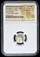 336-323 BC Kingdom of Macedon Alexander III AR (Silver) Drachm (4.30g) obv Heracles rv Zeus Holding Eagle (NGC Ch AU) Strike: 5/5, Surface: 4/5