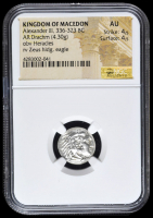 336-323 BC Kingdom of Macedon Alexander III AR (Silver) Drachm (4.30g) obv Heracles rv Zeus Holding Eagle (NGC AU) Strike: 4/5, Surface: 4/5
