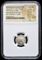 336-323 BC Kingdom of Macedon Alexander III AR (Silver) Drachm (4.30g) Early Posthumous Issue obv Heracles rv Eagle (NGC Ch AU) Strike: 3/5, Surface: 4/5