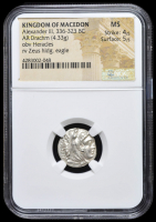 336-323 BC Kingdom of Macedon Alexander III AR (Silver) Drachm (4.33g) obv Heracles rv Zeus Holding Eagle (NGC MS) Strike: 4/5, Surface: 5/5