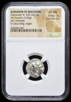 336-323 BC Kingdom of Macedon Alexander III AR (Silver) Drachm (4.30g) obv Heracles rv Zeus Holding Eagle (NGC Ch AU) Strike: 3/5, Surface: 4/5 at PristineAuction.com