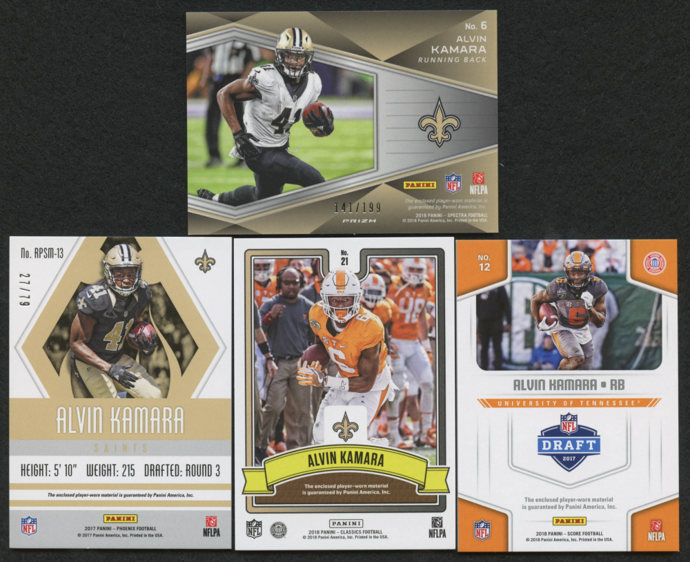 Lot of (4) Alvin Kamara Game-Used Relic Football Cards With 2017 Panini 8a2721a02