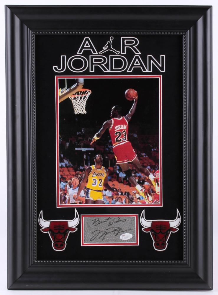quality design f3c45 91950 Michael Jordan Signed Bulls 16x22 Custom Framed Cut Display Inscribed