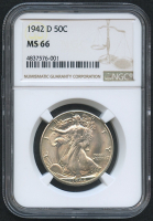 1942-D 50¢ Walking Liberty Silver Half Dollar (NGC MS 66)
