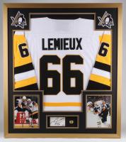 Mario Lemieux Signed Penguins 32x36 Custom Framed Cut Display (PSA COA)