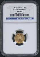 2009 $5 Five Dollars American Gold Eagle Saint-Gaudens 1/10 Oz Gold Coin (Early Releases) (NGC MS 70)