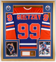 Wayne Gretzky Signed Oilers 32x36 Custom Framed Cut Display (PSA)