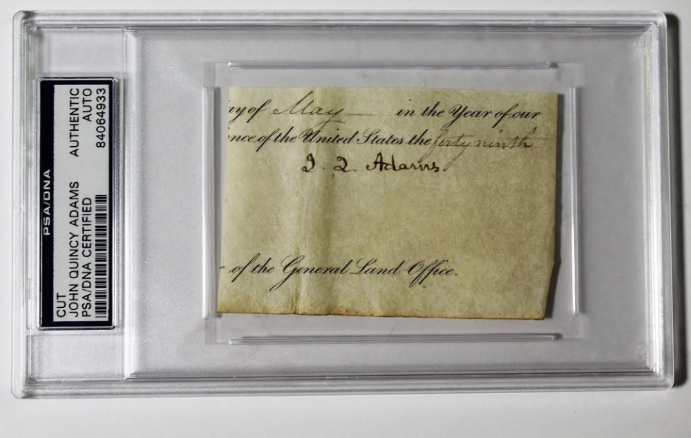 John Quincy Adams Signed Cut (PSA Encapsulated) at PristineAuction.com