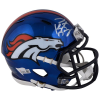 Peyton Manning Signed Denver Broncos Chrome Mini Speed Helmet (Fanatics Hologram)