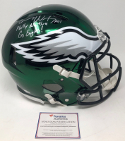 """Carson Wentz Signed Eagles LE Full-Size Authentic On-Field Chrome Speed Helmet Inscribed """"Philly Nation"""", """"Go Eagles!"""" &  """"A01"""" (Fanatics Hologram) at PristineAuction.com"""