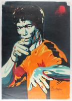 "Longyun Bruce Lee ""Game of Death"" 24x34 Original Oil Painting on Linen (PA LOA)"