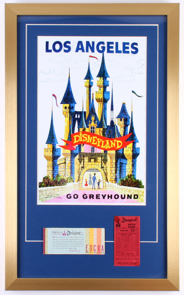 "Disneyland ""Go Greyhound"" 17x28 Custom Framed Print Display with Vintage Ticket Booklet & Parking Pass at PristineAuction.com"
