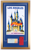 "Disneyland ""Go Greyhound"" 17x28 Custom Framed Print Display with Vintage Ticket Booklet & Parking Pass"