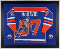 Connor McDavid Signed Oilers 36x44 Custom Framed Jersey With Original Hand-Painted Portrait (JSA LOA)