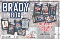 """""""The Brady Box"""" TOM BRADY Mystery Box – (20) Cards + a PSA 10 or Graded RC!"""