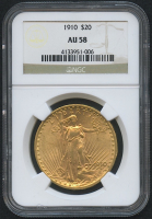 1910 $20 Saint-Gaudens Double Eagle Gold Coin (NGC AU 58) at PristineAuction.com