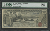 """1896 $1 One Dollar """"Educational Series"""" U.S. Silver Certificate Large Size Currency Bank Note Fr #224 (PMG 25) at PristineAuction.com"""