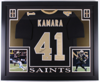 Alvin Kamara Signed New Orleans Saints 35x43 Custom Framed Jersey (Beckett Hologram)