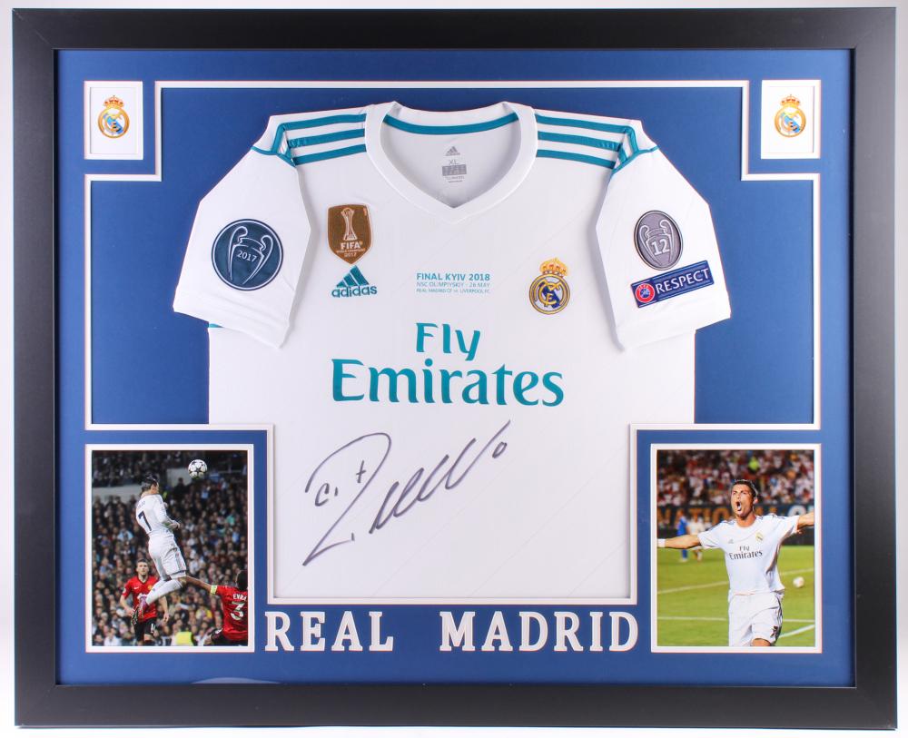 26d3fa677 Cristiano Ronaldo Signed Real Madrid 35x43 Custom Framed Jersey (Beckett  COA) at PristineAuction.