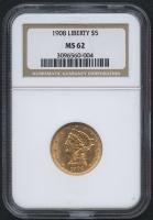 1908 $5 Liberty Head Half Eagle Gold Coin (NGC MS 62)