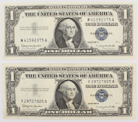 Lot of (2) 1957 Blue Seal Silver Dollar Certificate Notes