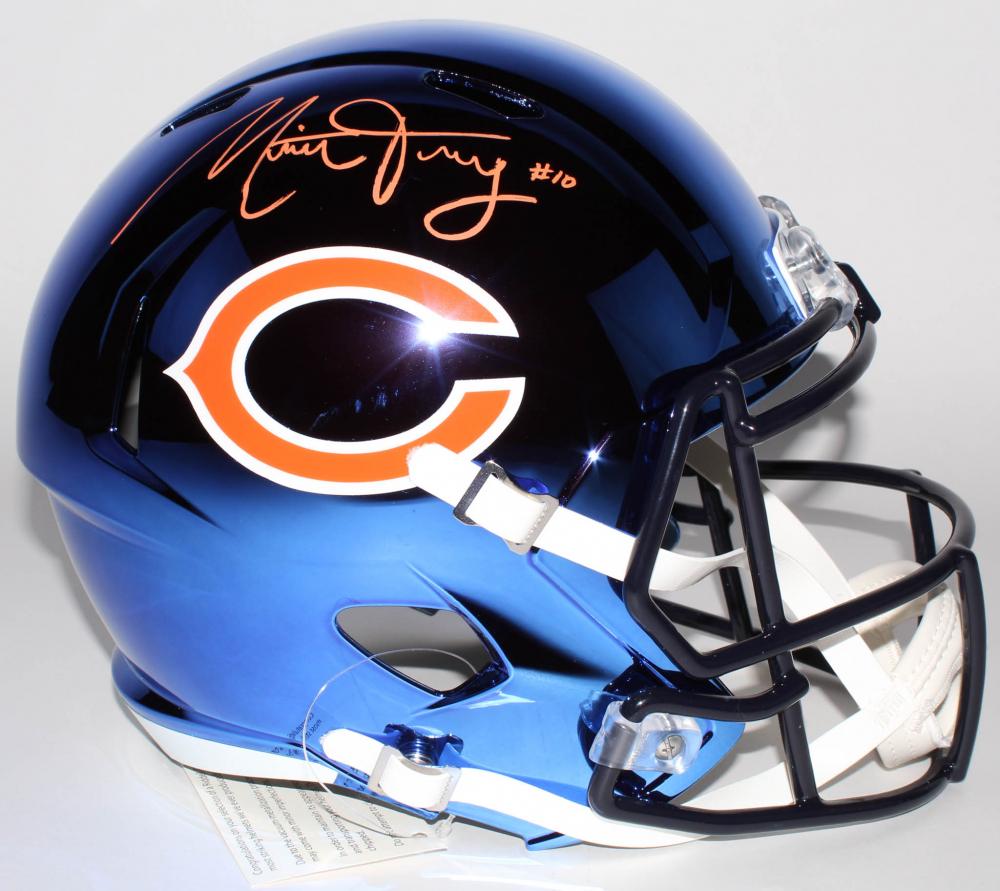 2545735cdc6 Mitchell Trubisky Signed Bears Full-Size Chrome Speed Helmet (Fanatics  Hologram)