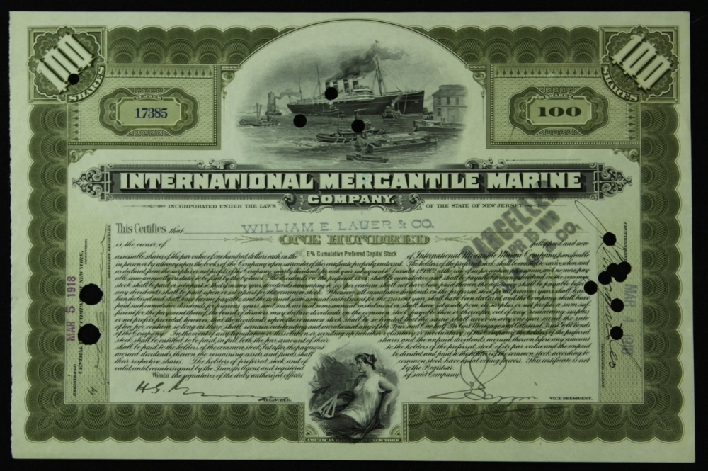 authentic titanic 100 shares preferred stock certificate from international mercantile marine coa at pristineauction