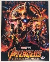"""Avengers: Infinity War"" 11x14 Photo Cast-Signed by (6) with Chris Hemsworth, Chadwick Boseman, Josh Brolin, Sebastian Stan, Dave Bautista (PSA LOA)"