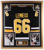Mario Lemieux Signed Penguins 32x36 Custom Framed Cut Display (PSA)