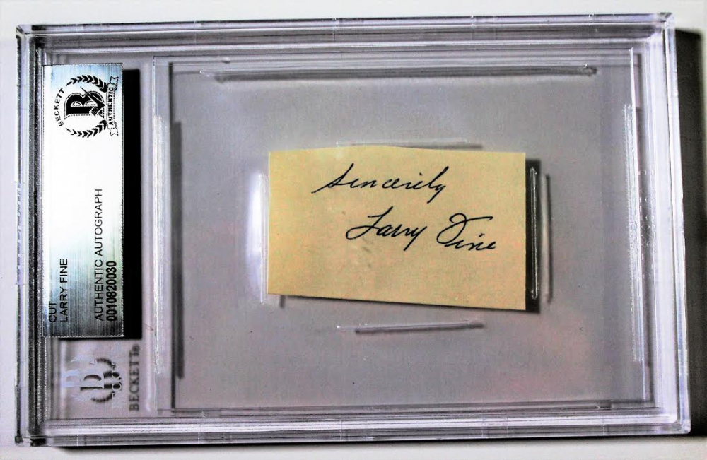 """Larry Fine Signed Cut Inscribed """"Sincerely"""" (Beckett Encapsulated) at PristineAuction.com"""