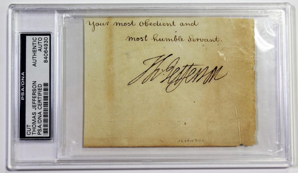 Thomas Jefferson Signed Cut (PSA Encapsulated) at PristineAuction.com
