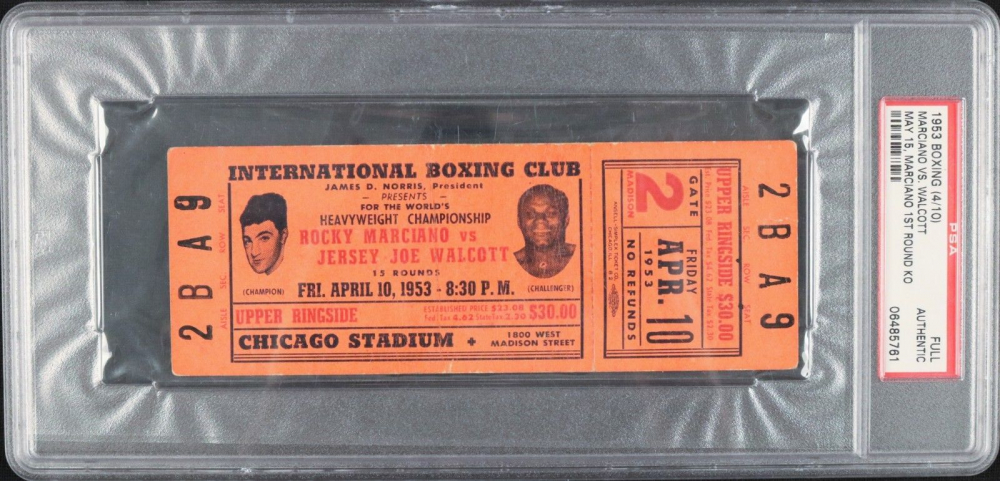 1953 Rocky Marciano vs. Joe Walcott Boxing Match Ticket (PSA Encapsulated) at PristineAuction.com