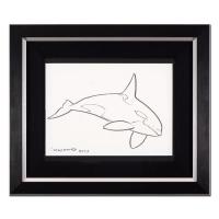 """Wyland Signed """"Orca"""" 20x16 Custom Framed Original Sketch at PristineAuction.com"""
